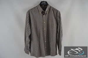 Basic Editions Tan / Blue Checkered Men's Medium Collared Button Up Dress Shirt