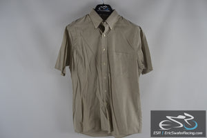 Van Heusen Tan Men's 15 1/2 Half Sleeve Collared Button Up Shirt
