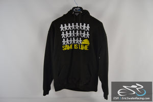 Same Is Lame Motorcycle AWDis Black White Yellow Men's Large Hoodie