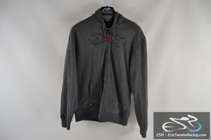 Hawk Grey Black Men's Large Feathered Zippered Hoodie