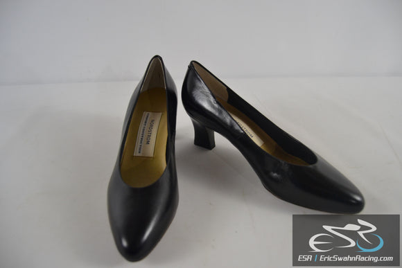 Nordstrom Comfort Construction Black Leather Women's  8 1/2 High Heel Shoes