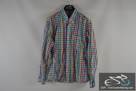 J. Crew Light Weight Slim Fit Red Blue Green White Men's X-Large Dress Shirt
