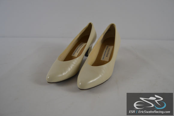 Nordstrom Comfort Construction White Leather Women's Size 8 1/2 Heels Shoes
