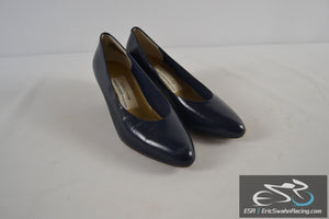 Nordstrom Comfort Construction Blue Leather Women's Size 8 1/2 Heels Shoes