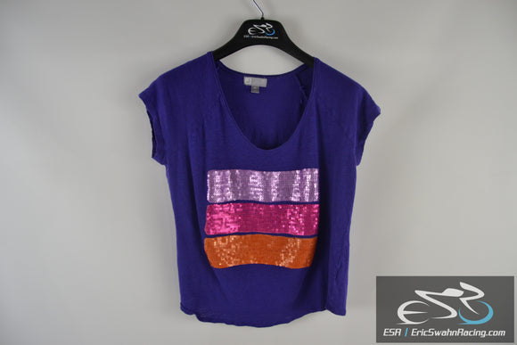 JCPenny 100% Linen Blue Purple Orange Pink Woman's PL Shirt Top
