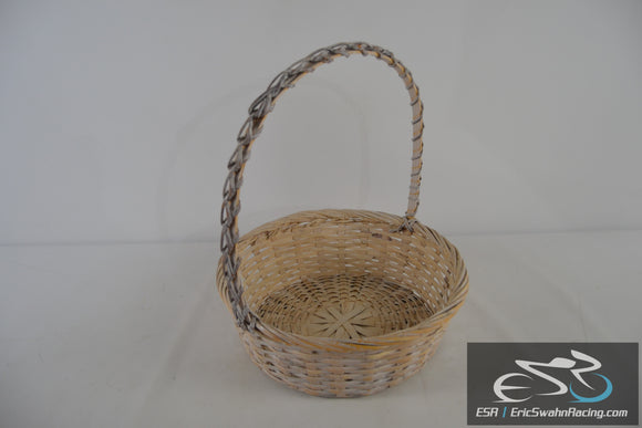 Tan White Brown Wicker Woven Basket with Long Handle
