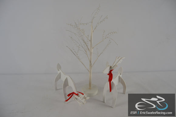 White Reindeer & Tree Holiday Set of Three Christmas Decorations