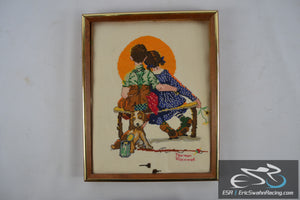 Norman Rockwell Wooden Frame Cross Stitch Needlepoint Sunset Kids and Dog 15x12""