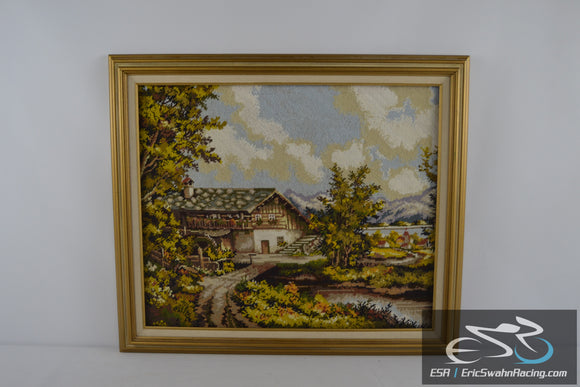 House by the Lake Framed Cross Stitch Needlepoint 29x25