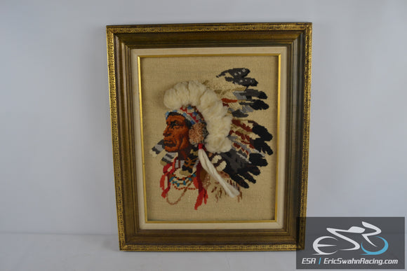 Indian with 3D Headdress Framed Cross Stitch Needlepoint Picture 27x23