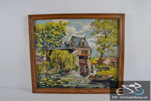 House with Water Wheel, Fishing Wood Frame Cross Stitch Needlepoint 27x23""