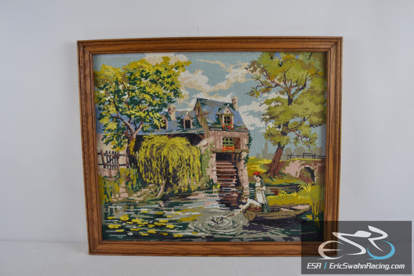 House with Water Wheel, Fishing Wood Frame Cross Stitch Needlepoint 27x23