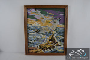 Seagulls & Rocks on the Ocean Wood Frame Cross Stitch Needlepoint Picture 27x23""