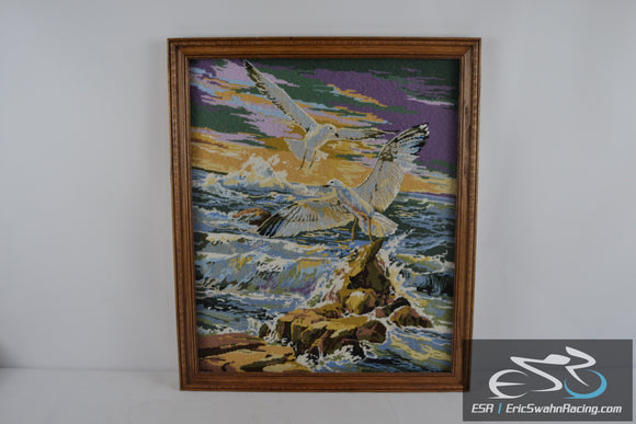 Seagulls & Rocks on the Ocean Wood Frame Cross Stitch Needlepoint Picture 27x23