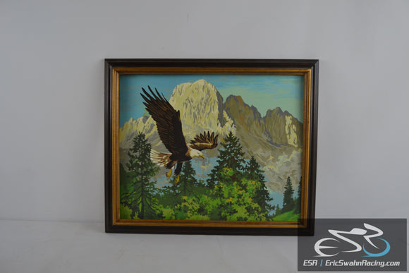 Eagle, Mountains and Forest Framed Nature Painting Picture 23x19