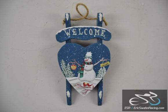 Welcome Winter Merry Christmas Blue Painted Sled Wall / Tree Decoration Ornament