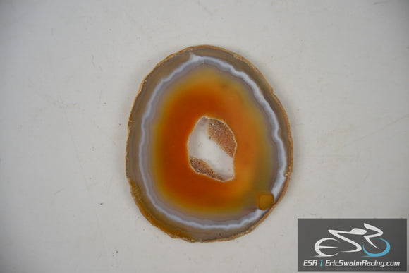 Polished Medium Orange Yellow Agate Cross Section Crystal Rock