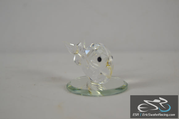 Crystal Glass Mini Fish on Circular Stand
