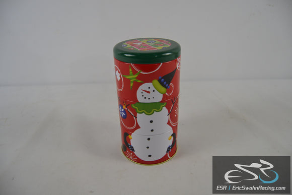 Snowman Holiday Christmas Tin Red / Green - Three Stage Cannister