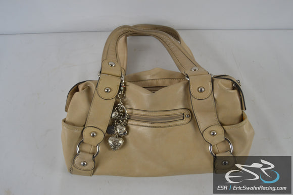 Kathy Van Zeeland Woman's Medium Sized Tan / Beige Purse with Keychain