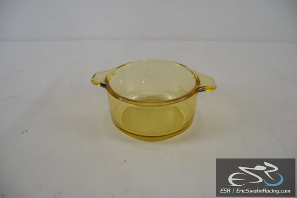 Yellow Tinted Glass Bowl with Handles 4.5x2.5