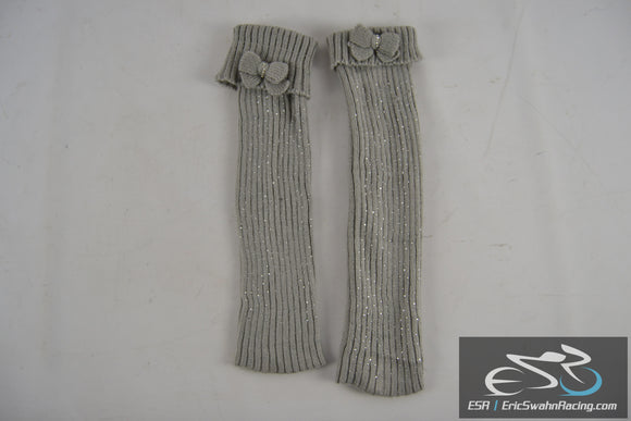 Women's Grey Leg Warmers with Bowtie & Rhinestones 16