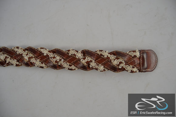Women's Brown Woven Lacy Leather Belt Size 11-13