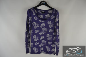 City Streets Women's Large Purple / White Flower Top Blouse Long Sleeve