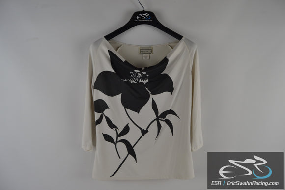 Sew Be It Women's White / Black Flower Small Top Blouse