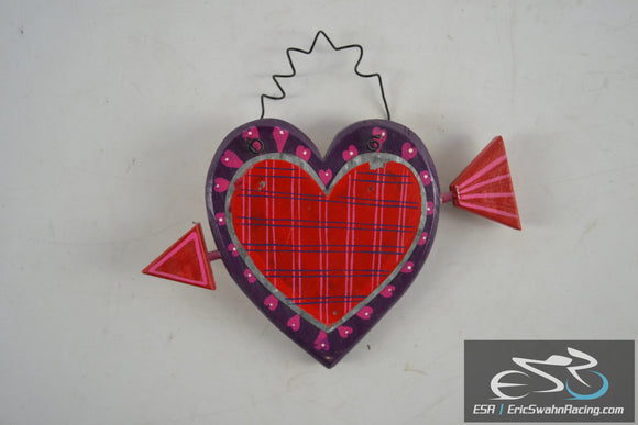 Wooden Painted Heart With Arrow - Wall Hang