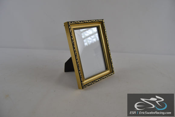 Gold and Black Picture Frame Wall or Desk Fits 6.5 x 4.5