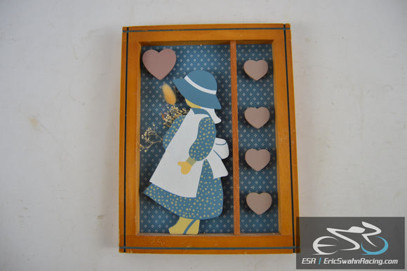 Wooden Picture Frame Folk Art 3D Cute Little Girl and Hearts