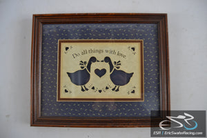 Do All Things With Love Country Cuts Folk Art Figi Graphics Wood Framed Picture