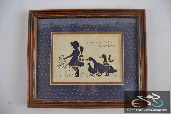 Those Who Give Love Gather Love  Folk Art Figi Graphics Wood Framed Picture
