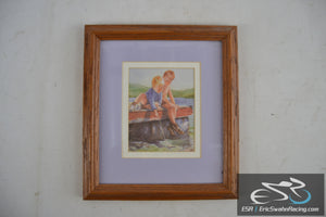 Boys Playing With A Toy Boat In The Lake Framed Vintage Picture W/ Note On Back