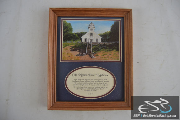 Old Mission Point Lighthouse Framed Wood Picture Frame