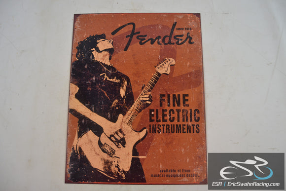 Fender Rock On Since 1946 Fine Electric Instruments Metal Sign 16x12.5