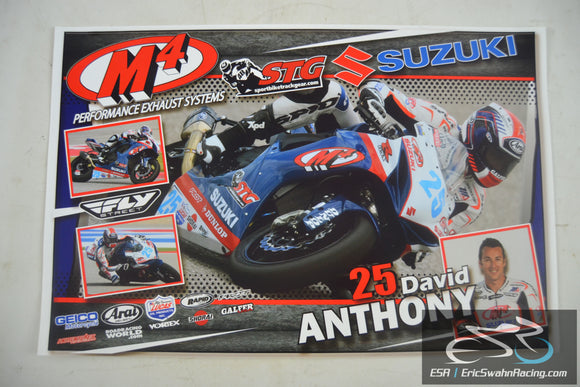 David Anthony #25 Suzuki Superbike MotoAmerica Motorcycle Racing Poster