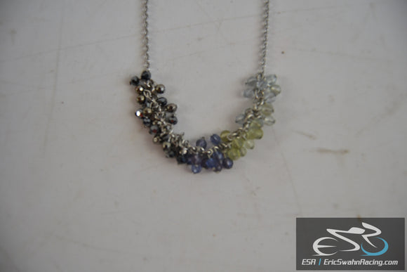 Coldwater Creek Necklace With Multicolored Beads - Blue Green Purple Dark Blue