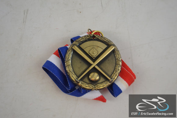 Blank Baseball / Softball Gold Medal With Red White & Blue Ribbon Necklace