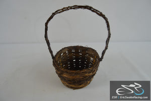 Small Brown Wicker Basket With Handle 12x9x7""