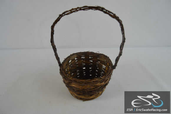Small Brown Wicker Basket With Handle 12x9x7