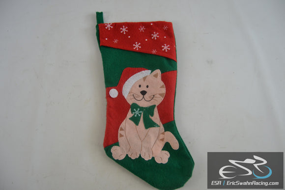 Christmas X-Mas Holiday Cat Stocking With Snowflakes Red / Green