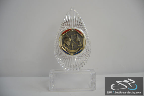 Blank Clear Hockey Trophy Award With Gold Blue Red Emblem
