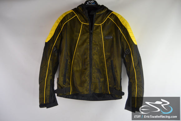 Himalaya Night Vision Black / Yellow Armored Men's Medium Motorcycle Jacket