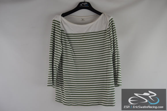 AK Anne Klein Sport Women's Green White Striped Long Sleeve Shirt Top Size XXL