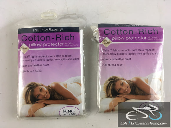 Pillow Saver King Size 20x36 Pillow Protector With Nylon Zipper Closure Set of Two