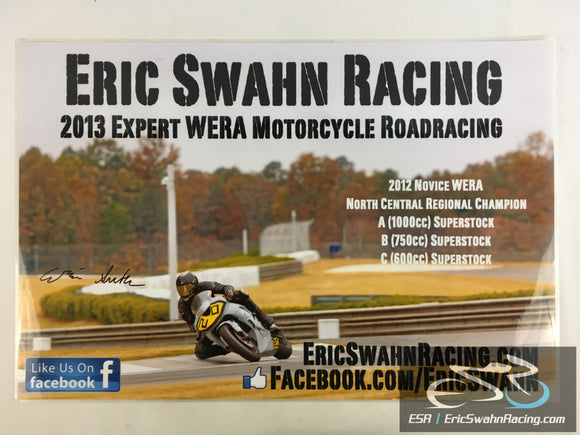 Autographed ESR Eric Swahn Racing Motorcycle Laminated Poster 2012.3 30x20