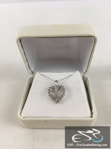 10K White Gold With Imitation Diamond Heart Necklace Jewelry With Gift Box