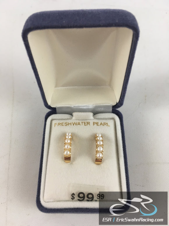Freshwater Pearl 10K Gold Earings Jewelry With Gift Box
